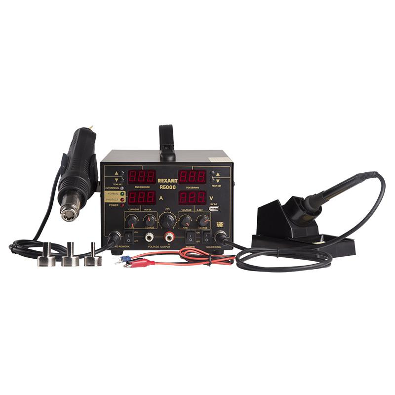 Паяльная станция Rexant R5000 (12-0729) 3в1: паяльник+термофен+источник питания