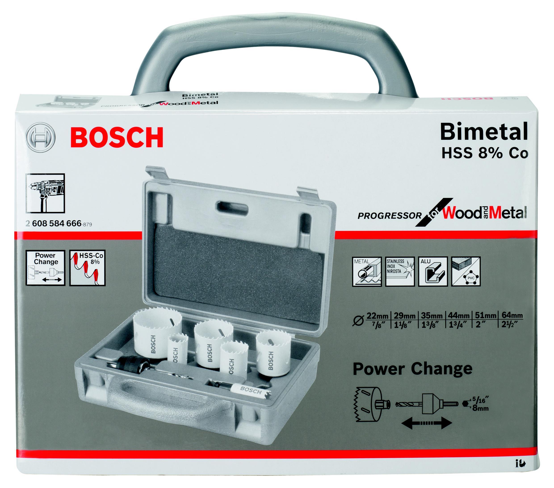 Набор коронок Bosch Progressor 6шт. 22-64мм, биметаллические (2.608.584.666) адаптер bosch power change 6гр progressor 2 608 584 674