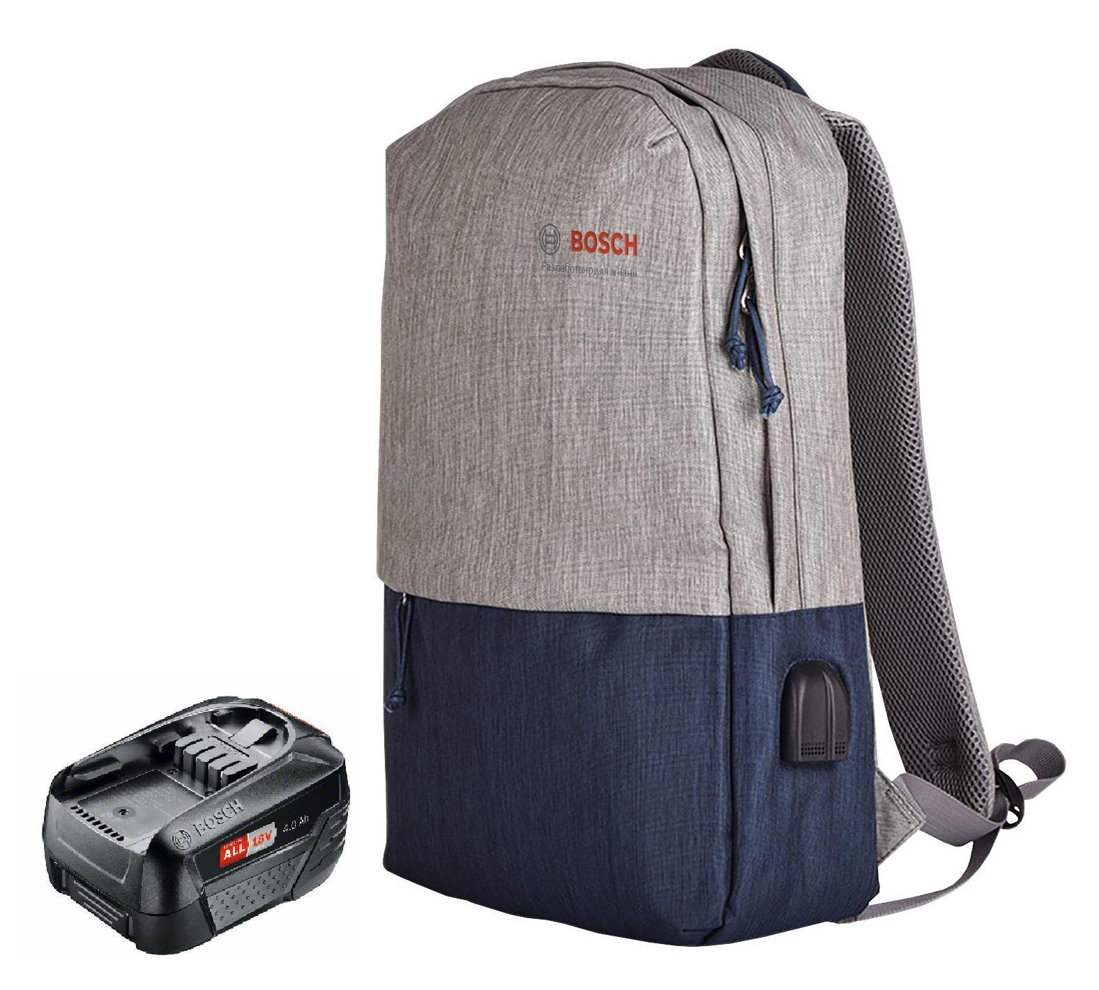 Фото - Набор Bosch Аккумулятор 18В 4Ач li-ion pba (1600a011t8) +Рюкзак 1.619.m00.k04 набор bosch дрель аккумуляторная universaldrill 18 2акк и зу 06039c8005 рюкзак 1 619 m00 k04