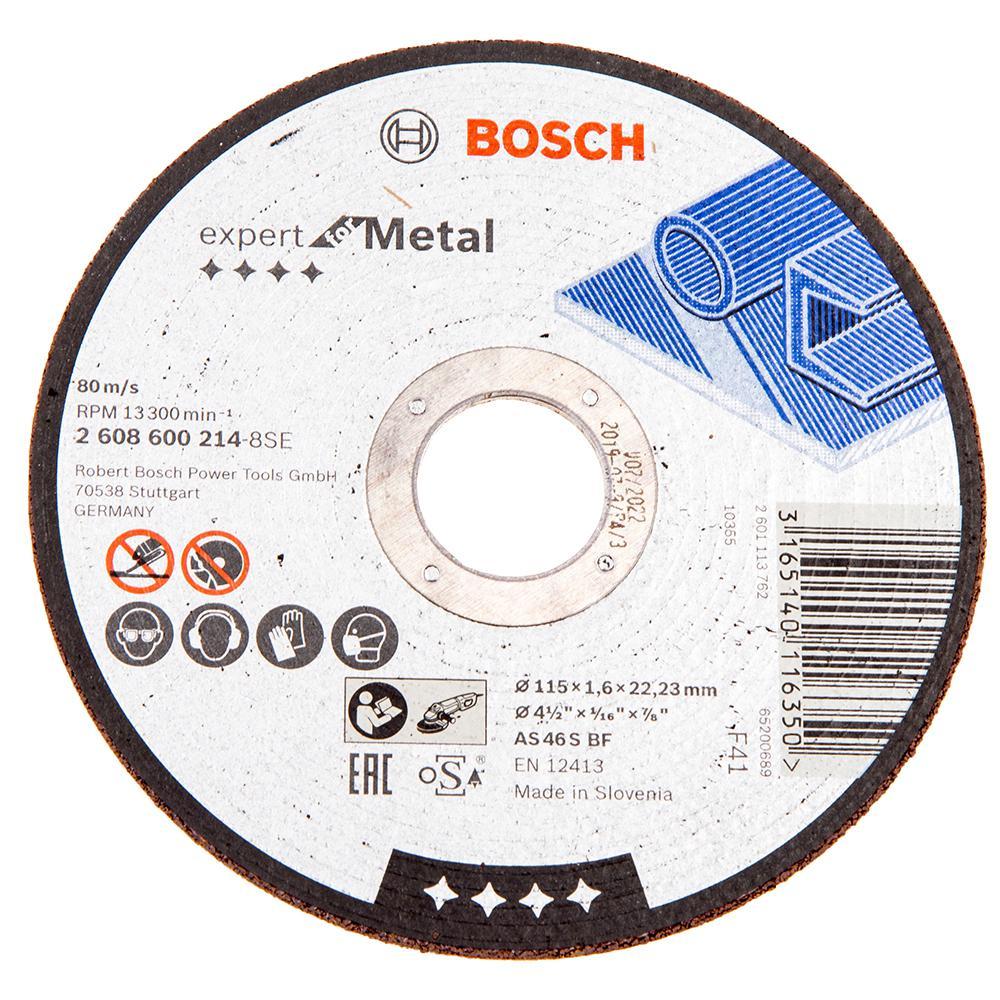 Круг отрезной Bosch 115х1.6х22 expert for metal (2.608.600.214) круг отрезной bosch expert for metal 230x1 9x22 2 608 603 400