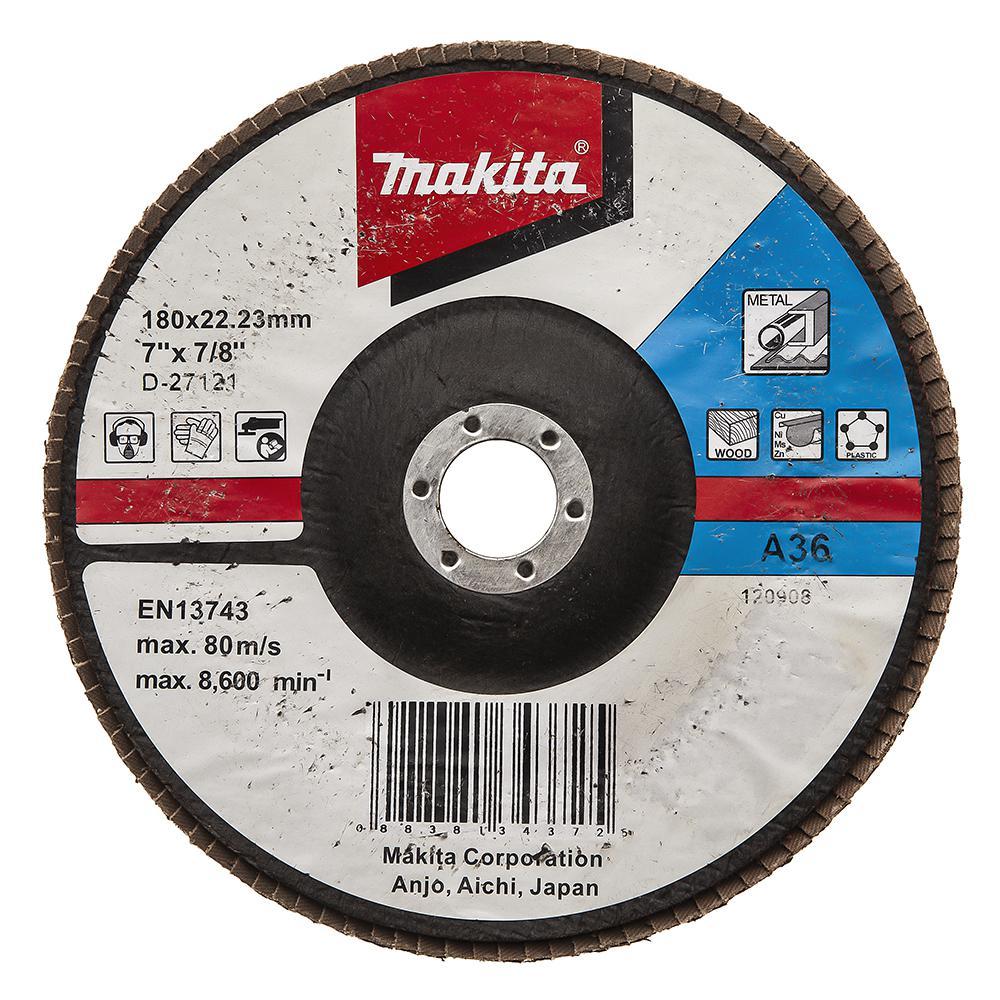 Круг Лепестковый Торцевой (КЛТ) Makita Makita d-27121 180 x 22, k36 круг лепестковый торцевой клт makita d 27707
