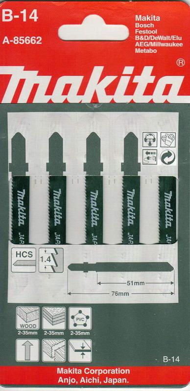 Пилки для лобзика Makita B-14 пилки для лобзика по металлу для прямых пропилов bosch t118a 1 3 мм 5 шт