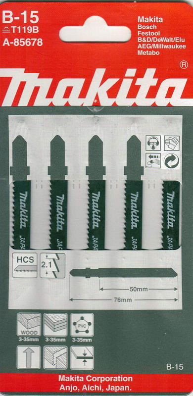 Пилки для лобзика Makita B-15 (t119b) пилки для лобзика makita b 26 t227d