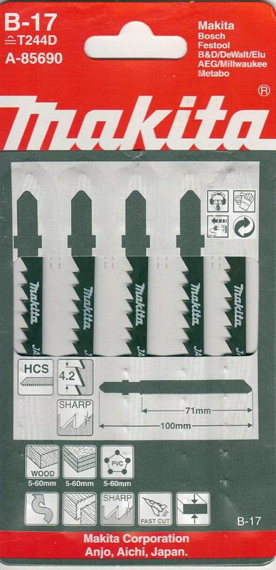 Пилки для лобзика Makita B-17 (t244d) пилки для лобзика makita b 26 t227d