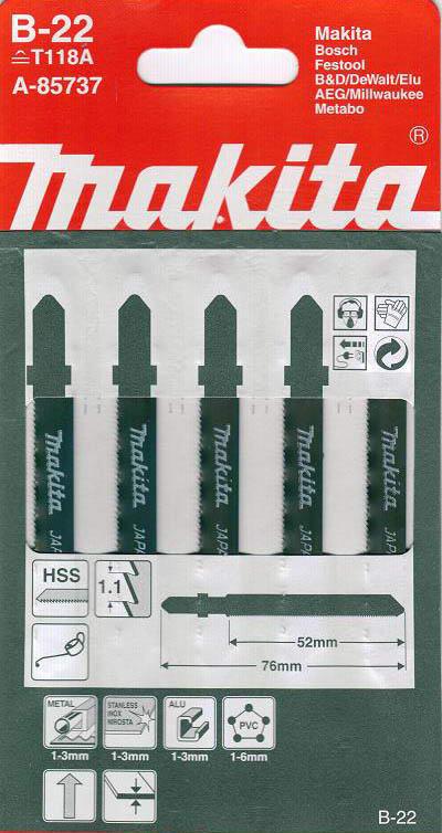 Пилки для лобзика Makita B-22 (t118a) пилки для лобзика makita b 26 t227d