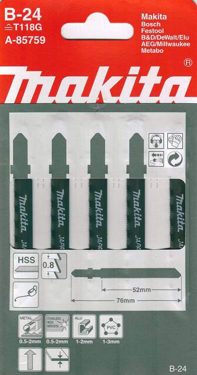 Пилки для лобзика Makita B-24 (t118g) пилки для лобзика makita b 26 t227d
