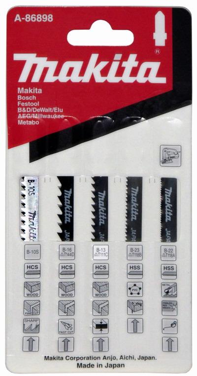 Набор пилок Makita 5шт.: В-10s,В-13,В-16,В-22,В-23 пилки для лобзика универсальные набор 5 шт стандарт