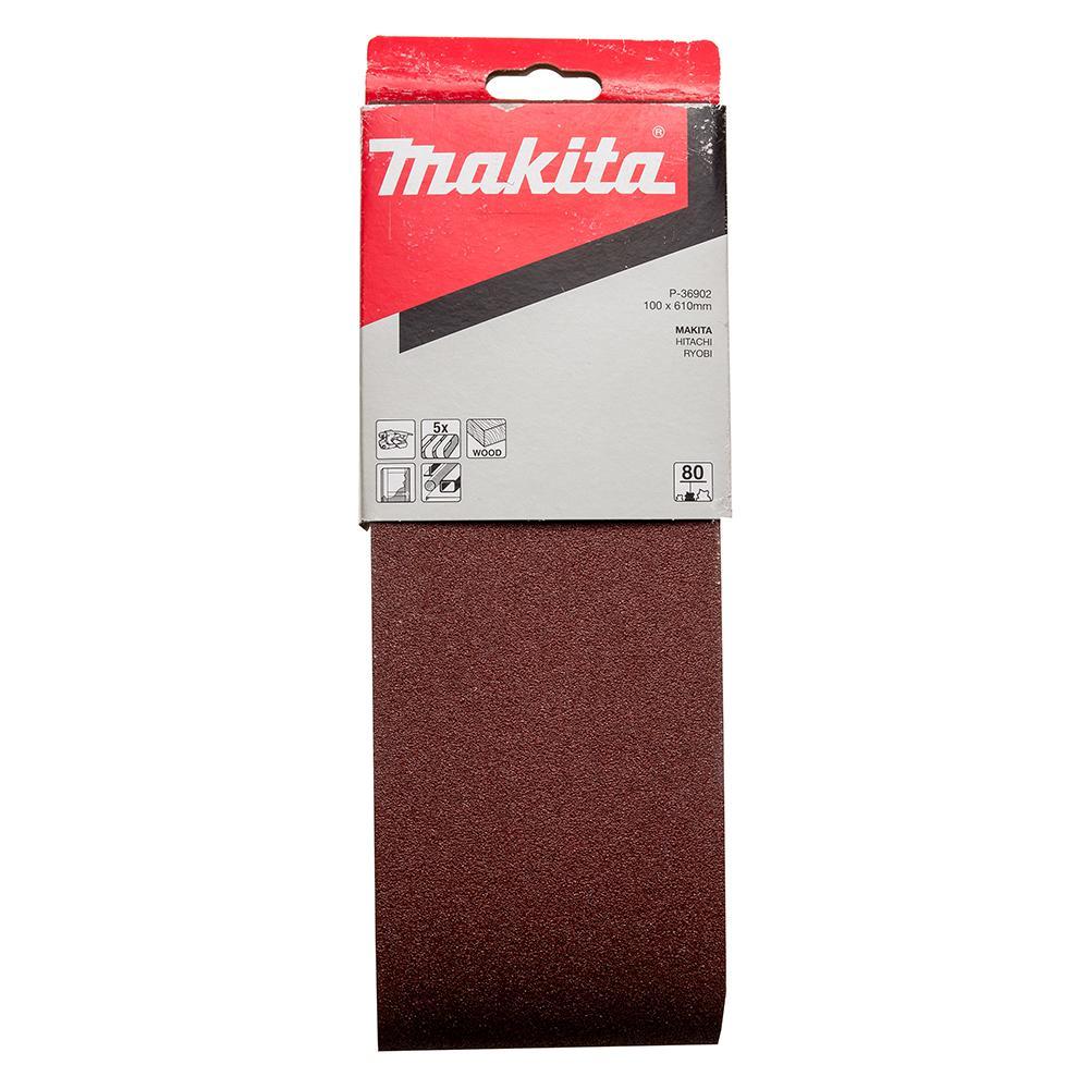 Лента шлифовальная бесконечная Makita 100 x 610 мм, k80, 5 шт. 5 шт 100