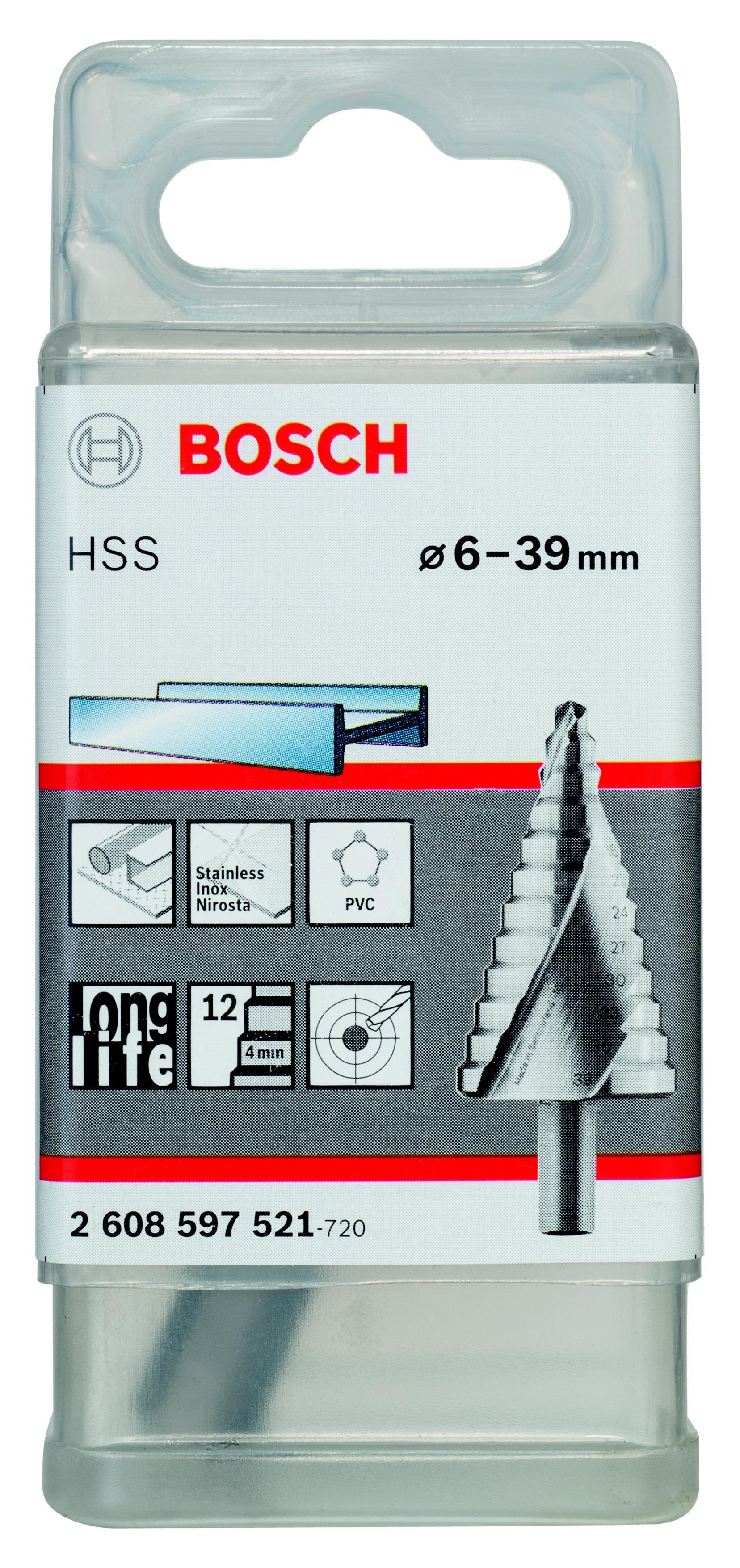 Сверло по металлу Bosch ступенчатое 6-39 мм, трехгр.хв. (2.608.597.521, ступенчатое 6-39 мм, трехгр.хв. (2.608.597.521)