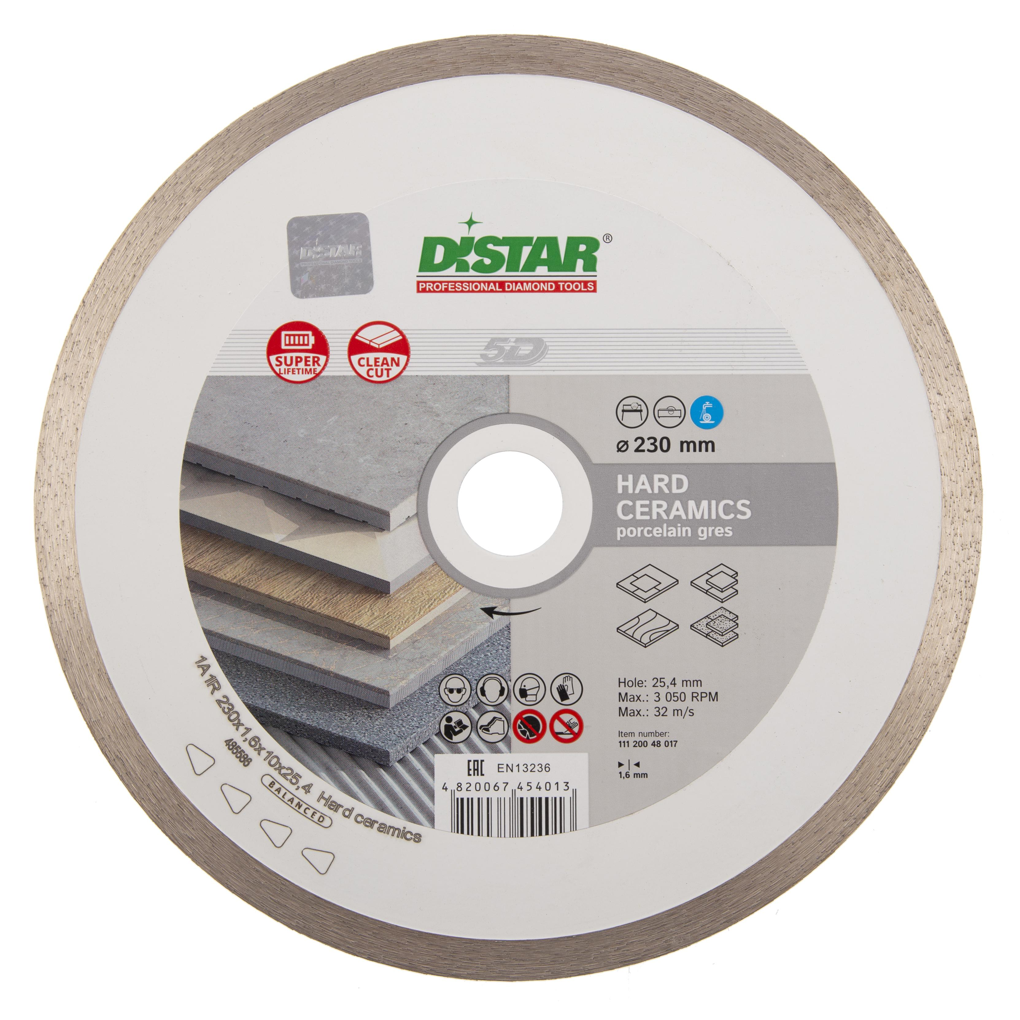 Круг алмазный Di-star 1a1r hard ceramics rs25t 262185 230 Х 25.4 круг алмазный по керамике 1a1r ceramics elite 200x1 6x7 0x25 4 diam 000547