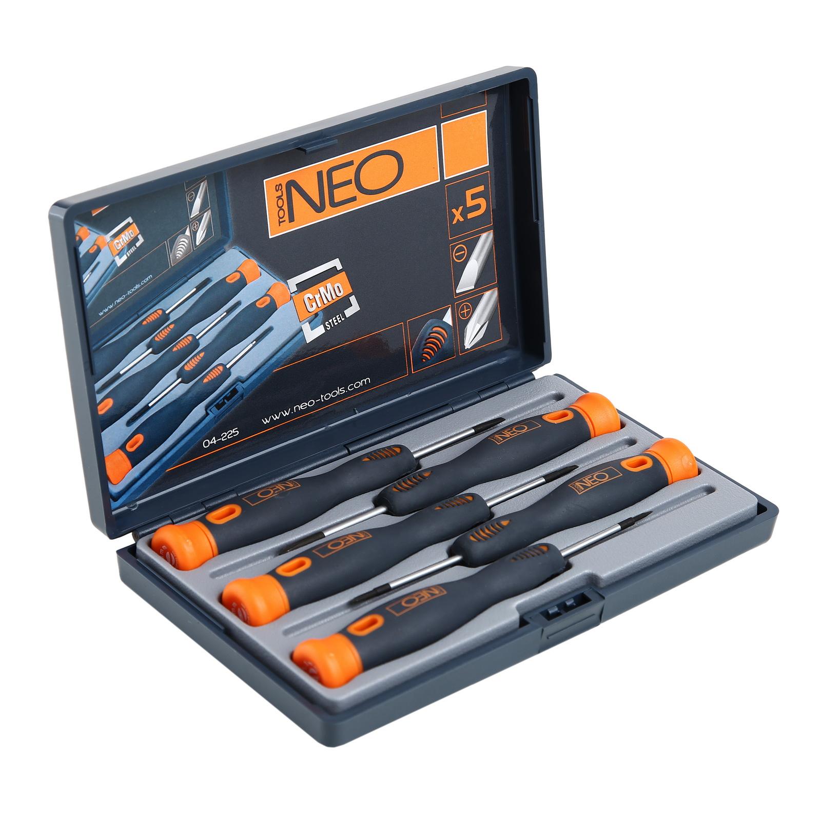 Набор отверток для точных работ, 5 шт. Neo 04-225 набор отверток neo 04 225