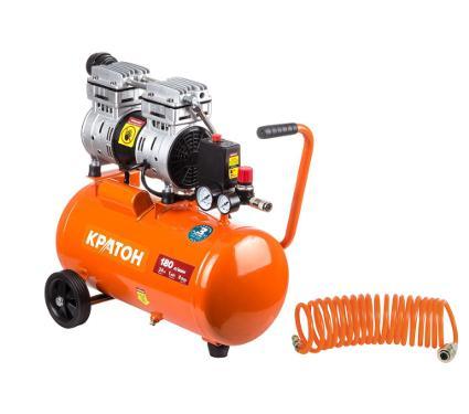 Набор КРАТОН Компрессор AC-180-24-OFS +Шланг спиральный для пневмоинструмента 30104015