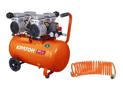 Набор КРАТОН Компрессор AC-300-50-OFS +Шланг спиральный для пневмоинструмента 30104015
