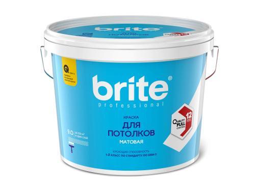 Краска BRITE PROFESSIONAL белая матовая, 9л (О02247)
