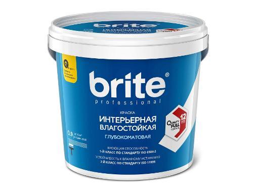 Краска влагостойкая BRITE PROFESSIONAL глубокоматовая, 0,9л (О02249)