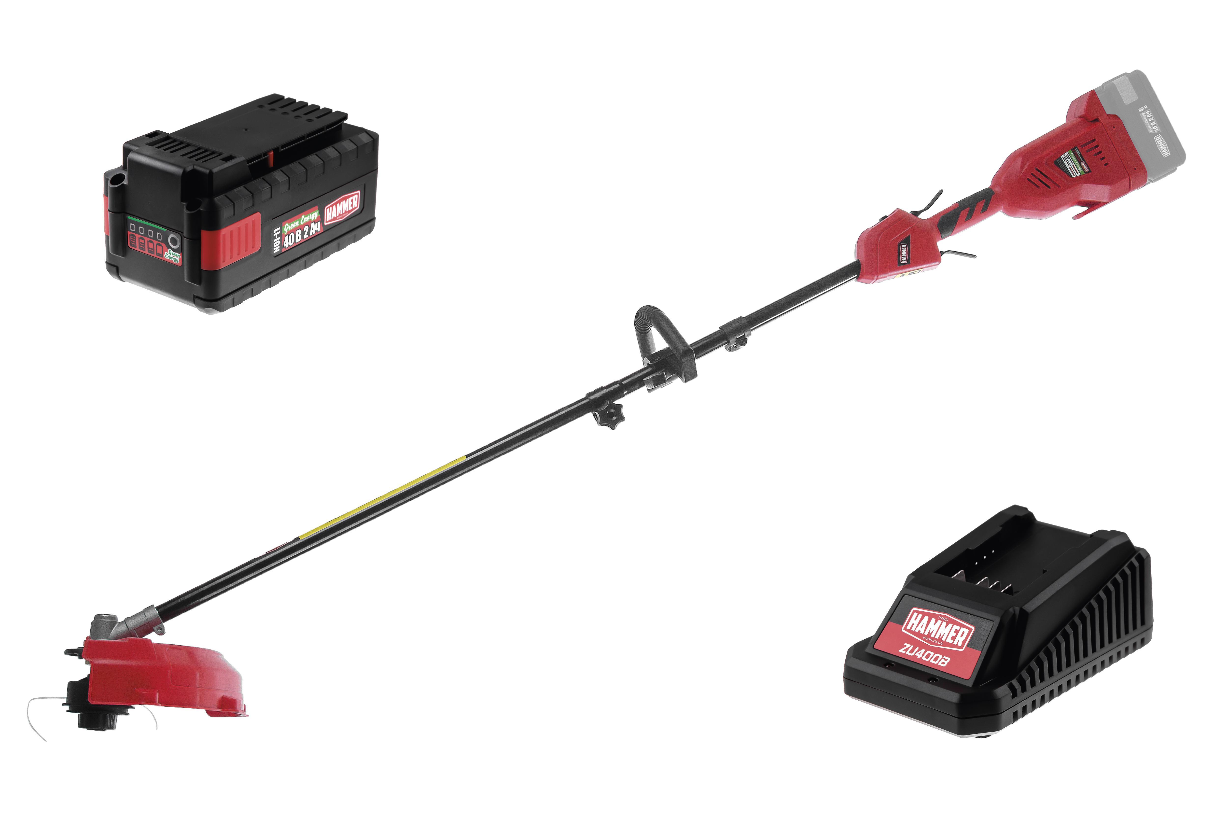 Набор Hammer Триммер аккумуляторный etr40v + Аккумулятор hammer aks42 40b 2Ач + Зарядное устройство hammer zu400b