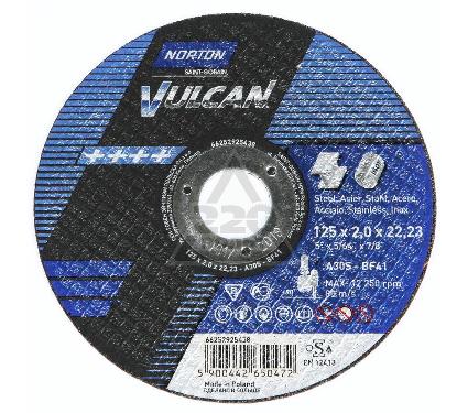 Круг отрезной NORTON 125 Х 2.0 Х 22,NORTON VULKAN   по металлу
