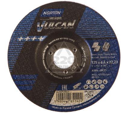 Круг зачистной NORTON 125 X 6.4 X 22 NORTON VULKAN