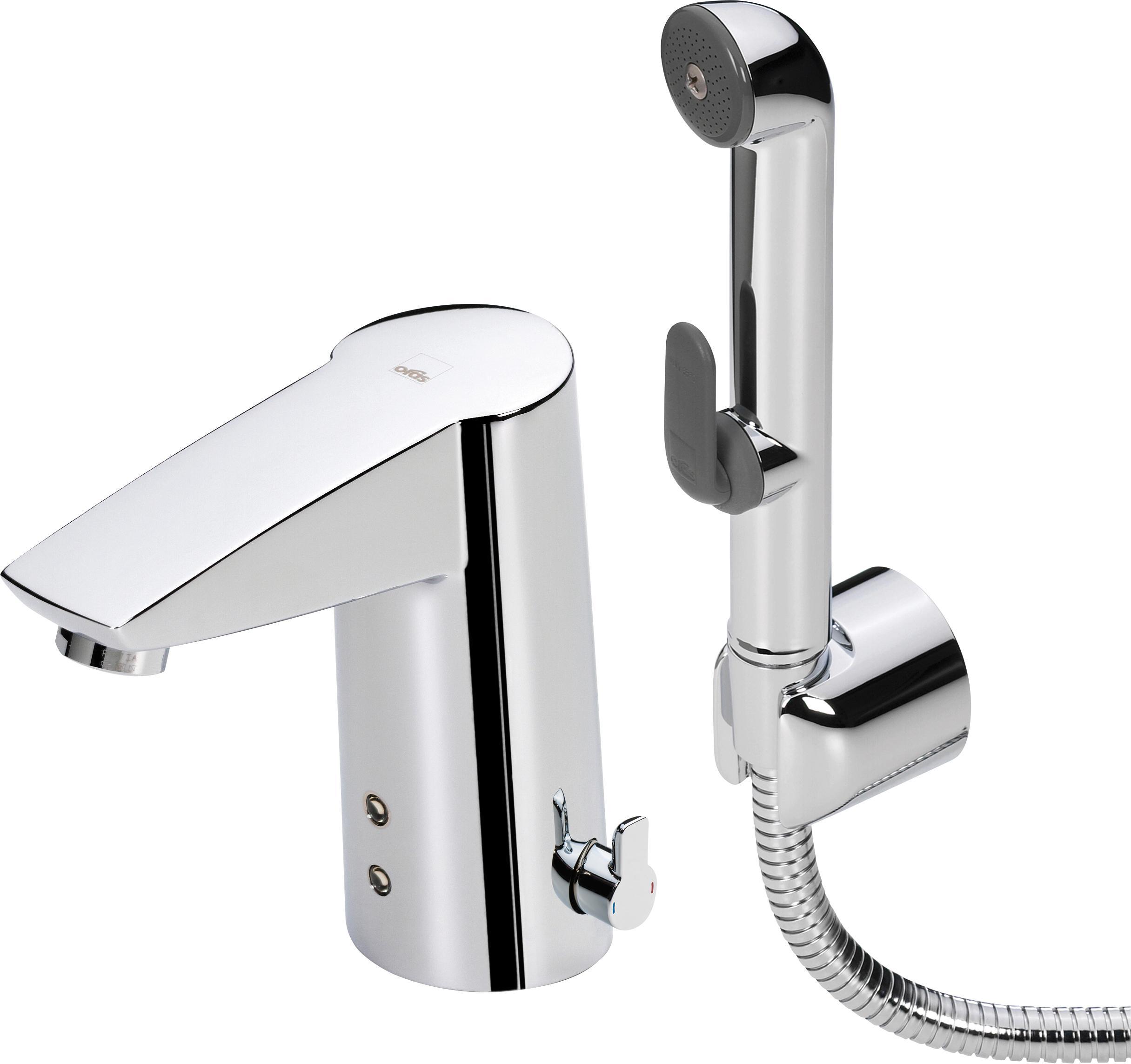 Смеситель для раковины сенсорный с гигиеническим душем Oras Cubista 2816f термостат для ванны oras cubista 2875u