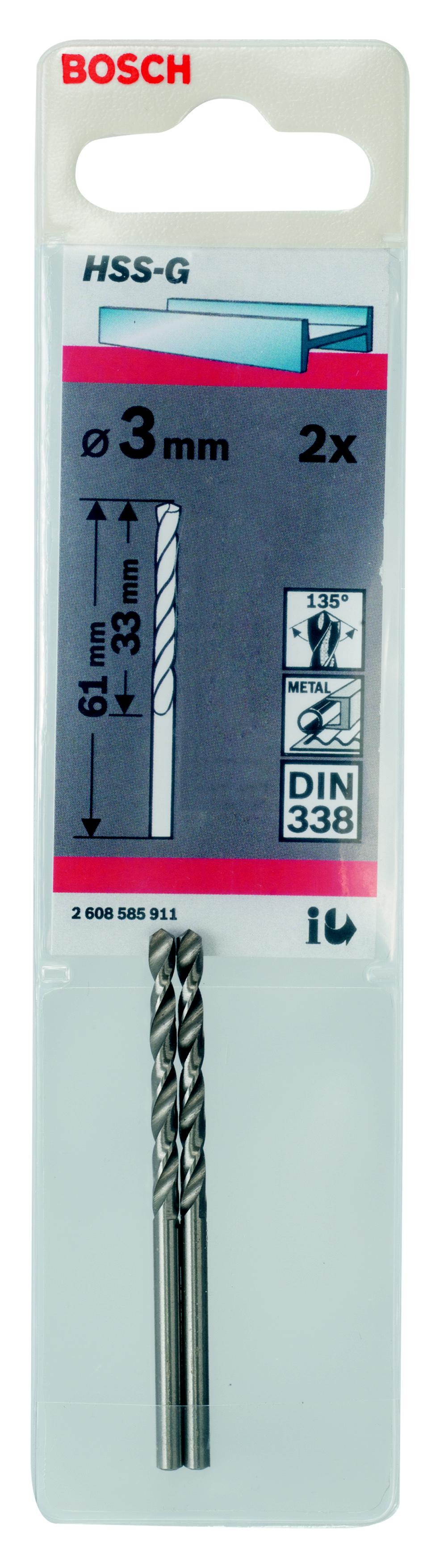 Сверло по металлу Bosch Hss-g standardline3.0 мм (2.608.585.911) bosch isio 3 060083310 g