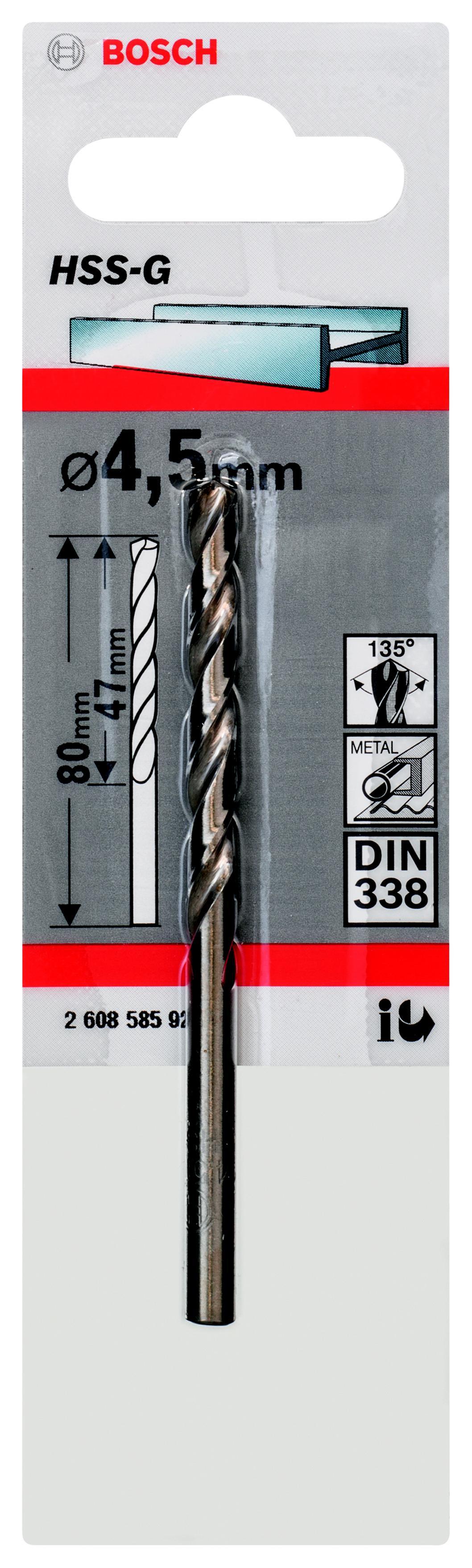Сверло по металлу Bosch Hss-g standardline 4.5 мм (2.608.585.920) тиски механические bosch ms 80 g