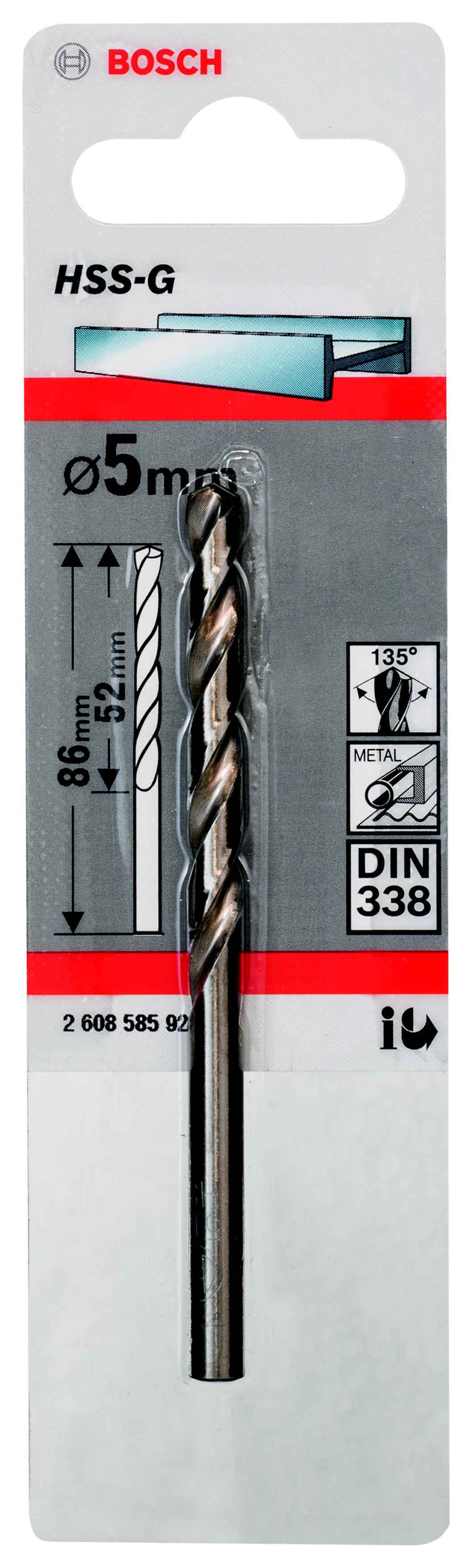 Сверло по металлу Bosch Hss-g standardline 5.0 мм (2.608.585.922) пила дисковая bosch gks 55 g 601682000