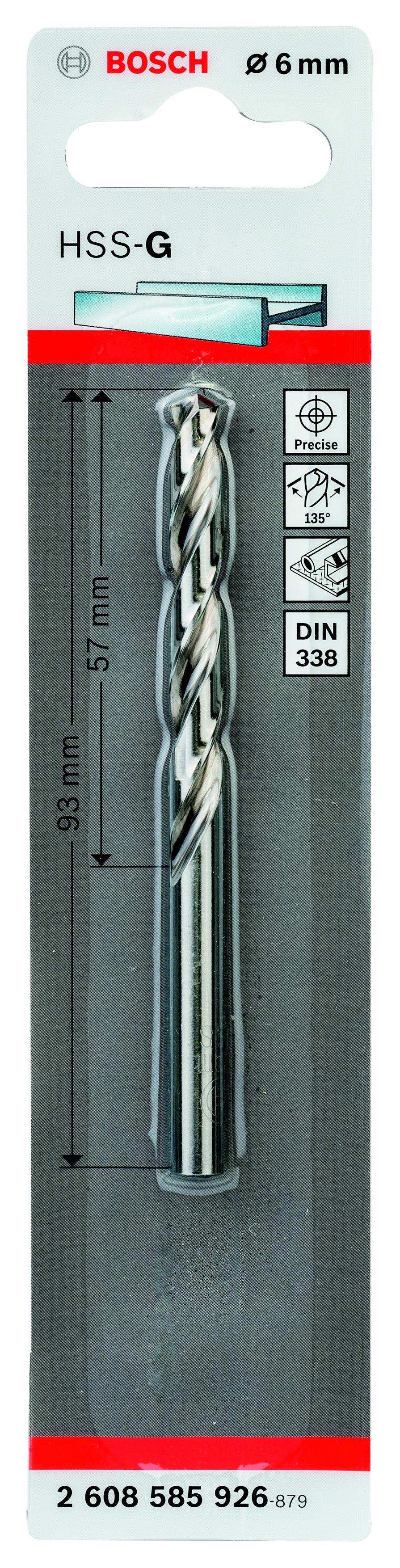 Сверло по металлу Bosch Hss-g standardline 6.0 мм (2.608.585.926) пила дисковая bosch gks 55 g 601682000