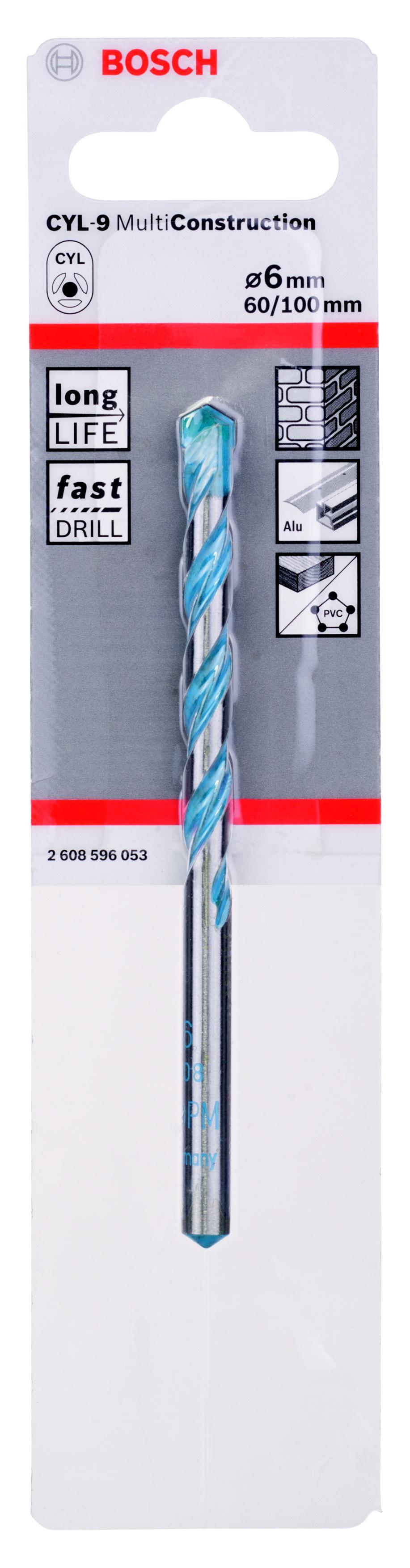 Сверло универсальное Bosch Ф6х100мм (cyl-9 multi construction 2608596053) сверло универсальное bosch multi construction cyl 9 6x100 мм 2608596053