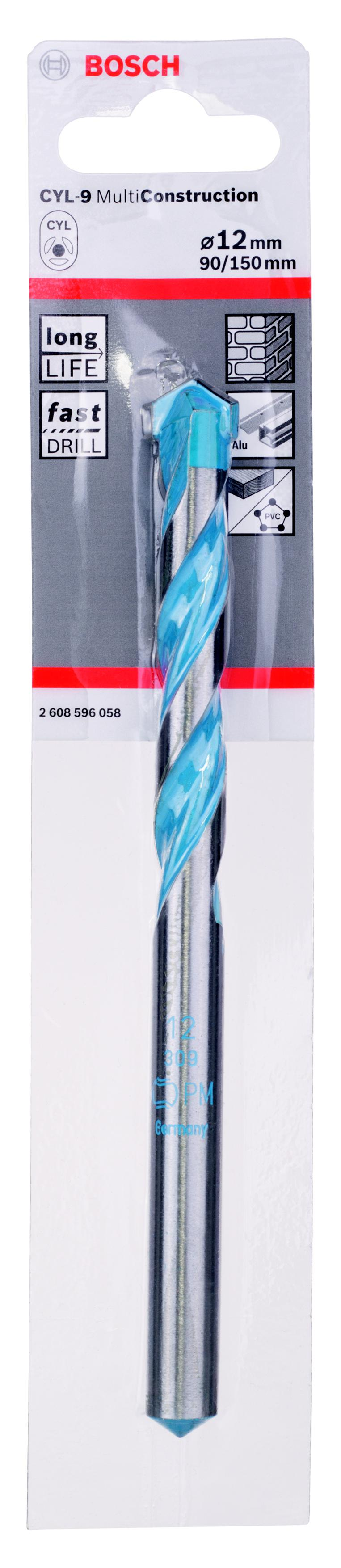 Сверло универсальное Bosch Ф12х150мм (cyl-9 multi construction 2608596058) сверло универсальное bosch multi construction cyl 9 6x100 мм 2608596053