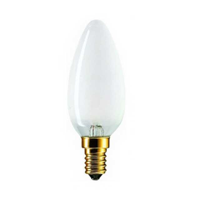 Лампа накаливания PhilipsЛампы<br>Тип лампы: накаливания,<br>Форма лампы: свеча,<br>Цвет колбы: матовая,<br>Тип цоколя: Е14,<br>Напряжение: 220,<br>Мощность: 40,<br>Цвет свечения: теплый<br>
