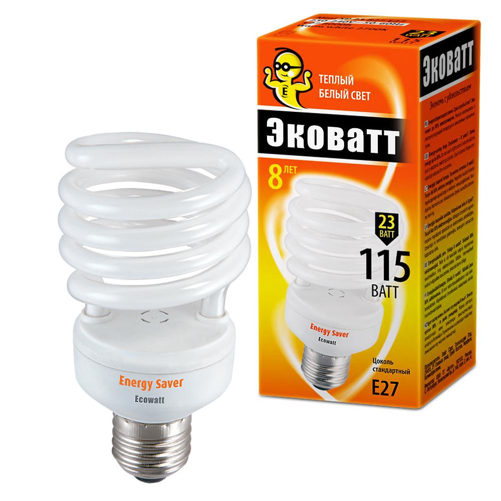 Лампа энергосберегающая Ecowatt Mini sp 23w 827 e27 стяжка кабельная abb 140х2 5мм белая 100шт