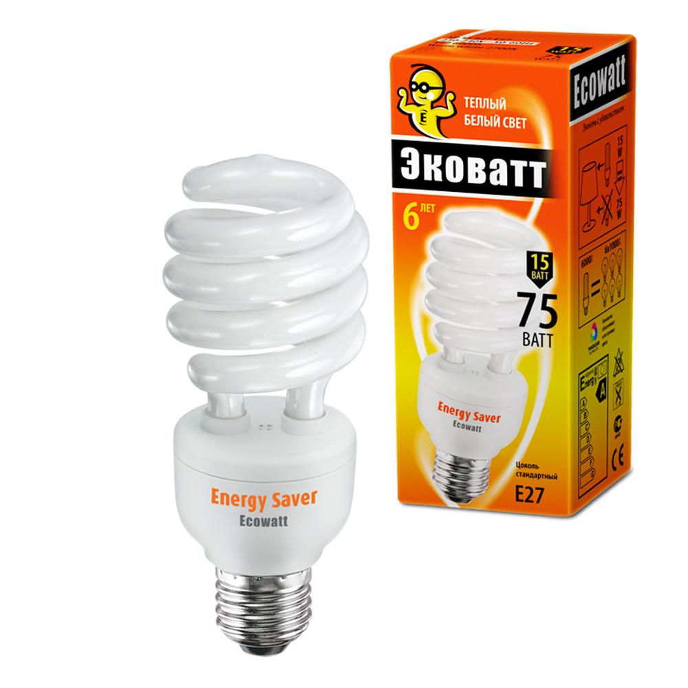 Лампа энергосберегающая Ecowatt Sp 15w 827 e27 энергосберегающая компактная лампа master pl e 20w 827 e27 philips 871150075143010