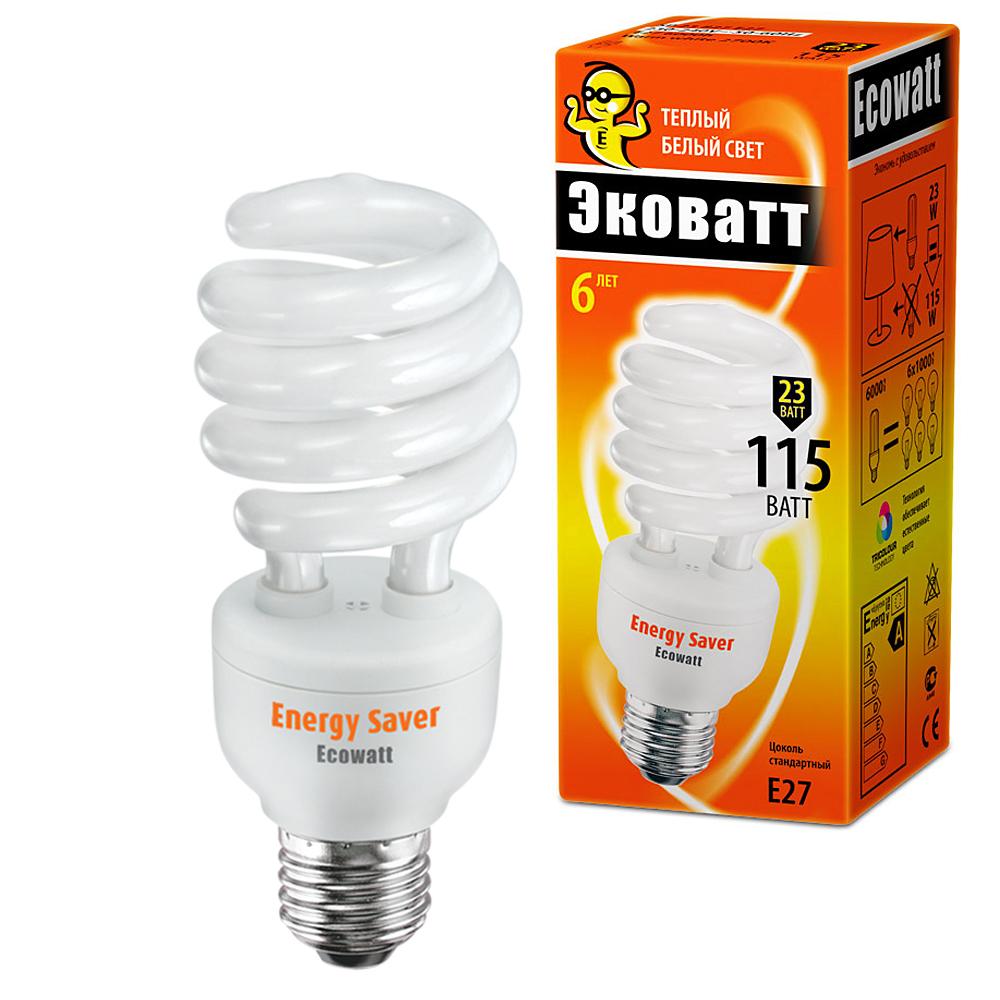 Лампа энергосберегающая Ecowatt Sp 23w 827 e27 лампочка ecowatt шарик нитевидный loft g125 e27 75w 2000k warm white