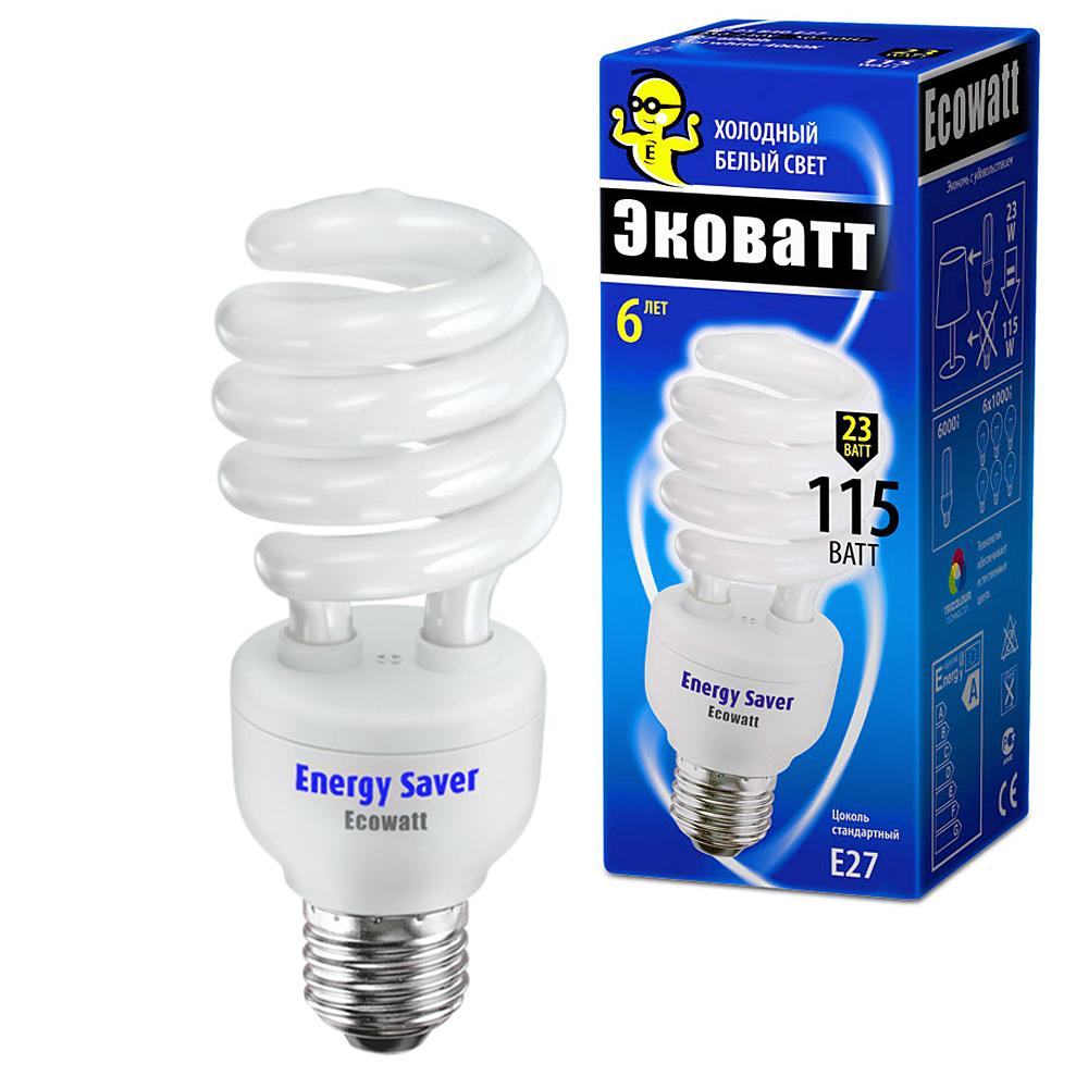 Лампа энергосберегающая Ecowatt Sp 23w 840 e27 энергосберегающая лампа наносвет l251 e14 840 ecoled