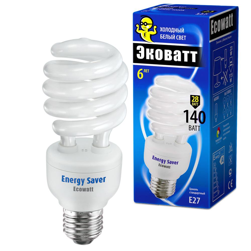 Лампа энергосберегающая Ecowatt Sp 28w 840 e27 энергосберегающая лампа наносвет l251 e14 840 ecoled