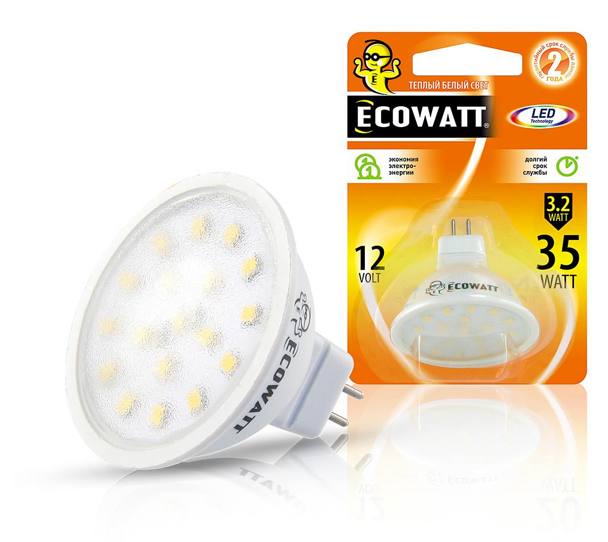 Лампа светодиодная Ecowatt Mr16 12В 3.2(35)w 2700k gu5.3  - Купить