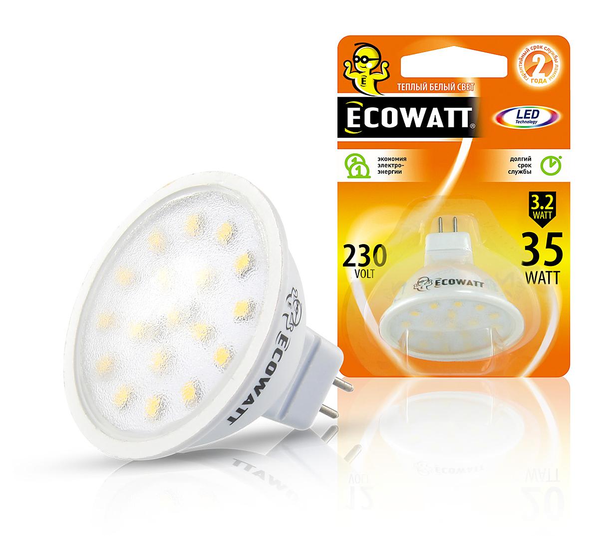 Купить Лампа светодиодная Ecowatt Mr16 230В 3.2(35)w 2700k gu5.3