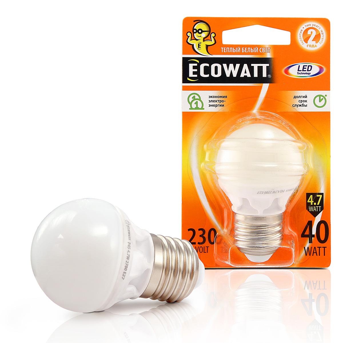 Купить Лампа светодиодная Ecowatt P45 230В 4.7(40)w 2700k e27