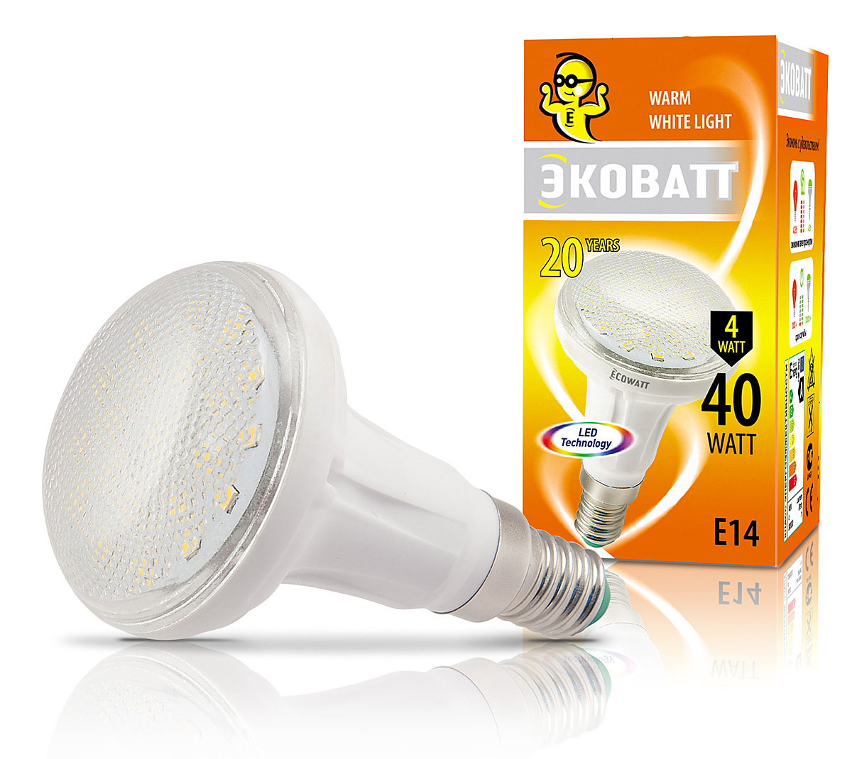 Купить Лампа светодиодная Ecowatt R50 230В 4(40)w 2700k e14