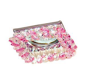 Светильник встраиваемый АКЦЕНТ Crystal 530 хром/прозрачный/розовый