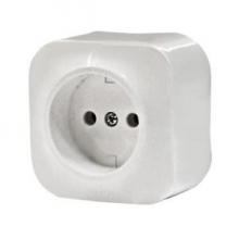 Розетка Legrand 1-местная  ОП без заземения 16А quteo белая выключатель legrand quteo 10а 1 клавиша белый 782300