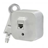 Розетка Legrand 1-местная  ОП телефонная rj11 quteo белая выключатель legrand 1 клавишный оп 10ах quteo слоновая кость