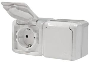 Розетка Legrand 2-местная  ОП с заземлением,защитные шторки с крышкой 16А quteo,ip44 белая выключатель 2 клавишный наружный ip44 белый 10а quteo