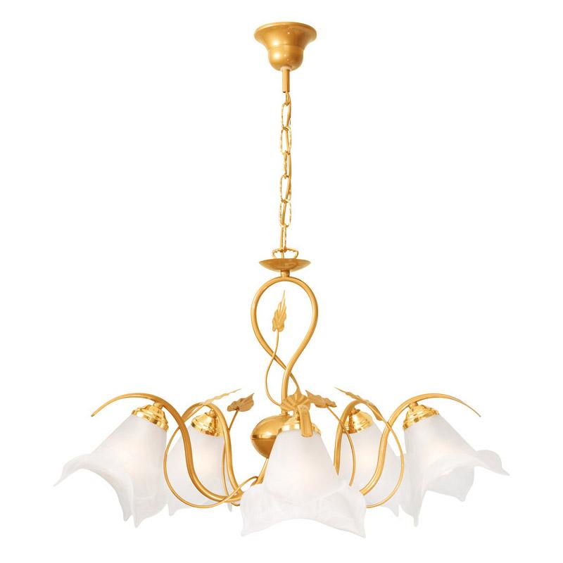 Люстра СЕВЕРНЫЙ СВЕТЛюстры<br>Назначение светильника: для гостиной,<br>Стиль светильника: флористика,<br>Тип: подвесная,<br>Материал светильника: металл, стекло,<br>Материал плафона: стекло,<br>Материал арматуры: металл,<br>Диаметр: 650,<br>Высота: 720,<br>Количество ламп: 5,<br>Тип лампы: накаливания,<br>Мощность: 60,<br>Патрон: Е14,<br>Цвет арматуры: золото<br>