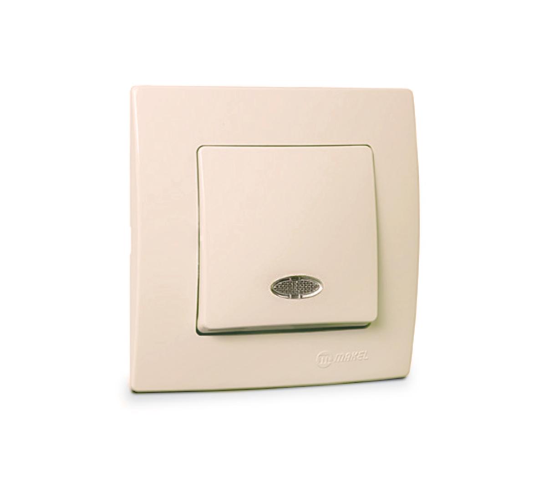 Выключатель Makel 32.010.021 выключатель двухклавишный наружный бежевый 10а quteo