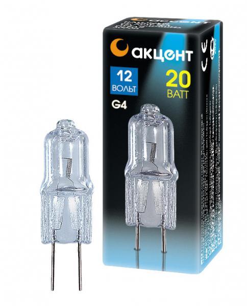 Лампа галогенная АКЦЕНТ Jc 12В 20w g4 капсульная прозрачная галогеновая лампа h1 12 v 55 w всепогодная 4 сезона vettler
