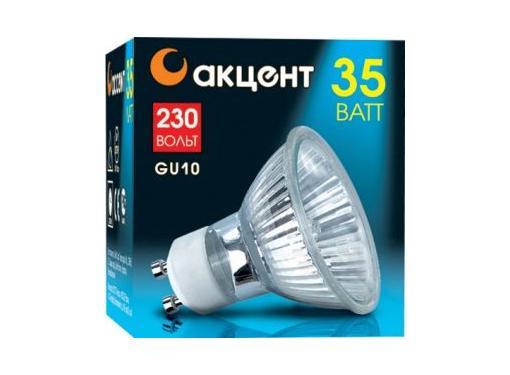 Лампа галогенная АКЦЕНТ JCDR 230В  35W GU10 с отражателем и защитным стеклом