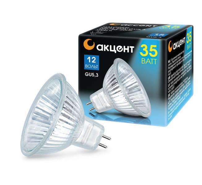 Лампа галогенная АКЦЕНТ Mr16 12В  35w 36° gu5.3 с отражателем и защитным стеклом rb6132 36 0m4 inductor mr li