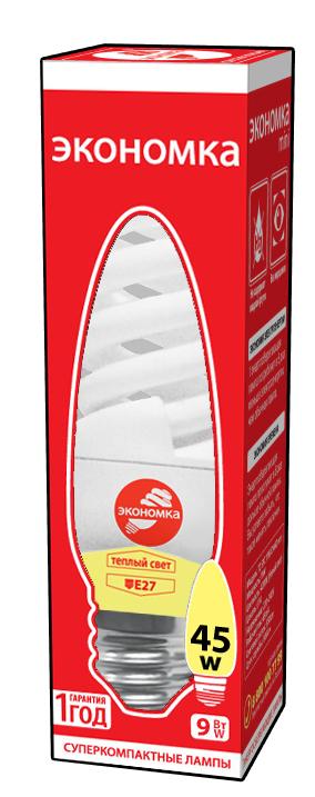 Лампа энергосберегающая ЭКОНОМКА 9Ватт 2700К Е27 elektrostandard лампа энергосберегающая компакт винт теплый свет цоколь е27 15w