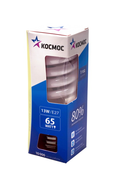 220 Вольт - Лампа энергосберегающая КОСМОС 13Ватт 2700К Е14 Т2 в Новосибирске - цена, характеристики, фото, отзывы...